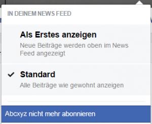 Abonnements von Facebook-Freunden deaktivieren